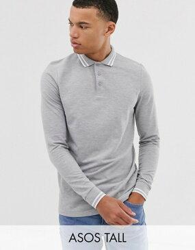 エイソス メンズ ポロシャツ トップス ASOS DESIGN Tall long sleeve tipped pique polo shirt in gray marl Gray marl