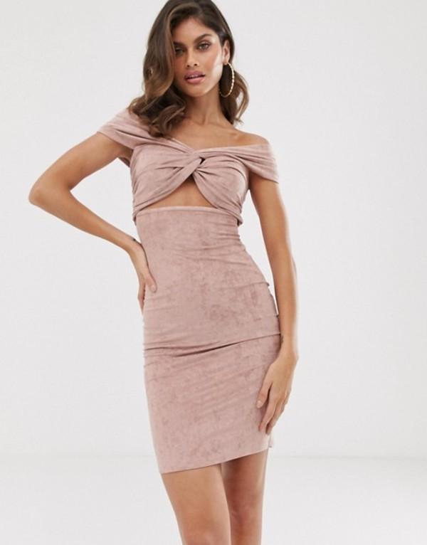 レディースファッション, ワンピース  The Girlcode suedette twist knot bardot dress in blush Blush