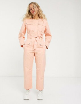 アンドアザーストーリーズ レディース ワンピース トップス & Other Stories pocket detail utility jumpsuit in bleached peach Bleached peach
