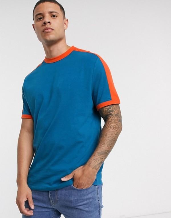 トップス, Tシャツ・カットソー  T ASOS DESIGN organic t-shirt with contrast shoulder panel in blue Blue saphire