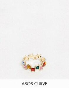 エイソス レディース 指輪 アクセサリー ASOS DESIGN Curve ring with square rainbow stones in gold tone Gold