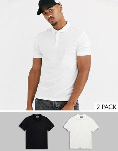 エイソス メンズ シャツ トップス ASOS DESIGN 2 pack organic jersey polo save White/black