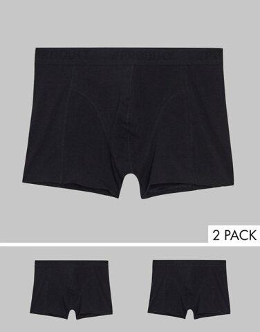 プロダクト メンズ トランクス アンダーウェア Produkt 2 pack organic cotton trunks in black Black