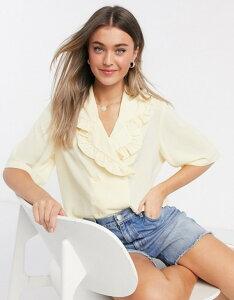 モンキ レディース シャツ トップス Monki Marian oversized collar blouse in yellow Yellow