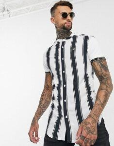 シックシルク メンズ シャツ トップス SikSilk high collar resort shirt in stripe Stripe
