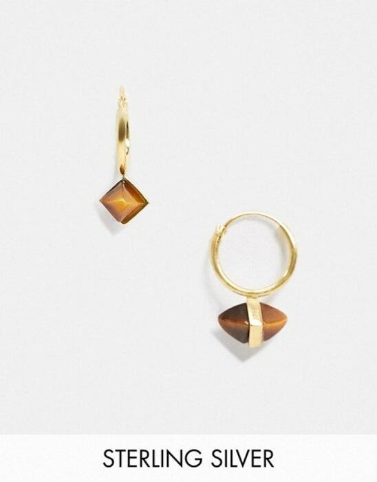 エイソス メンズ ピアス・イヤリング アクセサリー ASOS DESIGN sterling silver hoop earrings with tigers eye stone in 14k gold plate Gold