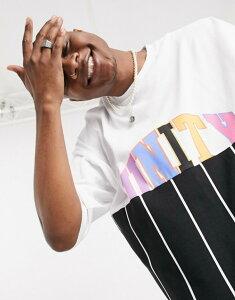 エイソス メンズ シャツ トップス ASOS DESIGN x glaad unisex oversized t-shirt with unity splice and stripe Multi