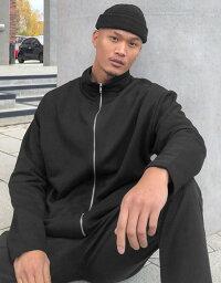 エイソス メンズ ジャケット・ブルゾン アウター ASOS DESIGN oversized jersey track jacket with funnel neck in black Black