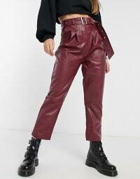 ヴァイオレット ロマンス レディース カジュアルパンツ ボトムス Violet Romance belted waist PU pants in burgundy Burgundy