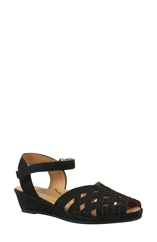 ラモールドピード レディース サンダル シューズ L'Amour des Pieds Burcie Wedge Sandal (Women) Black Nubuck Leather