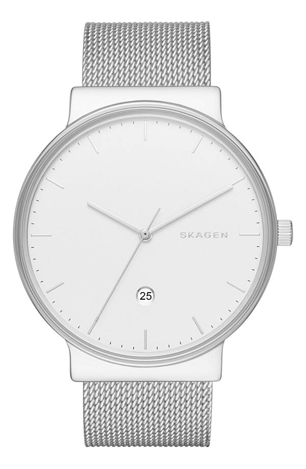 スカーゲン レディース 腕時計 アクセサリー Skagen 'Ancher' Round Mesh Strap Watch, 40mm Silver/ White/ Silver
