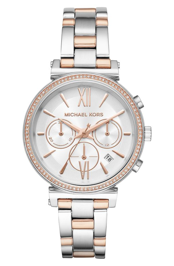 マイケルコース レディース 腕時計 アクセサリー Michael Kors Sofie Chronograph Bracelet Watch, 39mm Rose Gold/ White/ Silver
