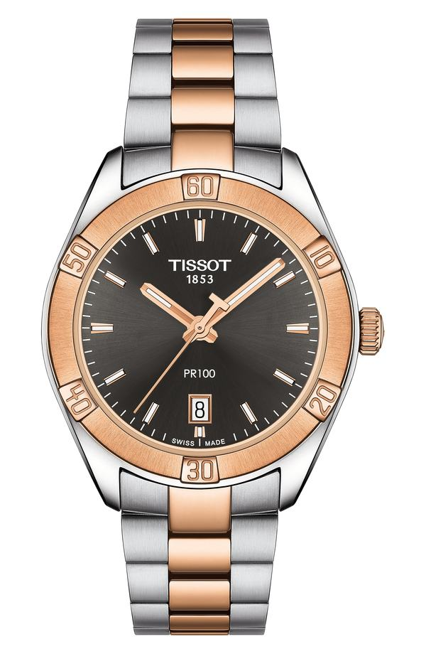 ティソット レディース 腕時計 アクセサリー Tissot PR 100 Sport Chic Bracelet Watch, 38mm Silver/ Grey/ Rose Gold
