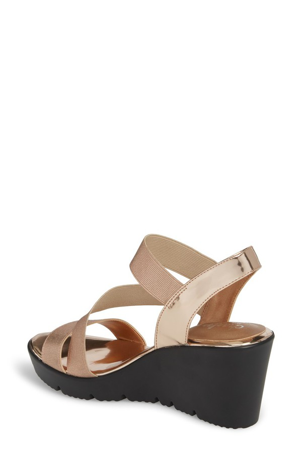 チャールズ・デイビッド レディース サンダル シューズ Charles by Charles David Vent Wedge Sandal (Women) Rose Gold Patent Leather