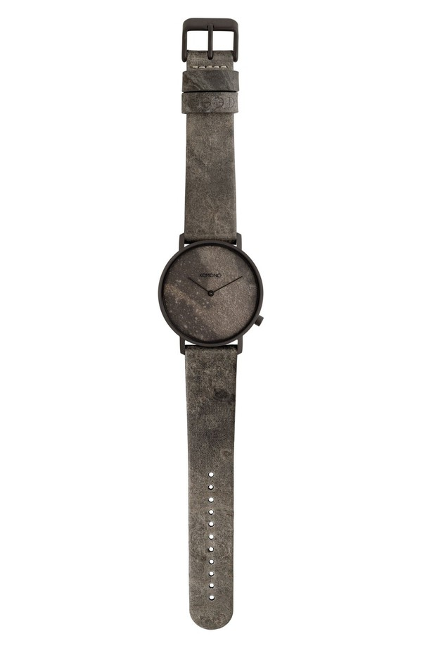 コモノ レディース 腕時計 アクセサリー Komono The Lewis Slate Leather Strap Watch, 40mm Grey Slate/ Grey Slate