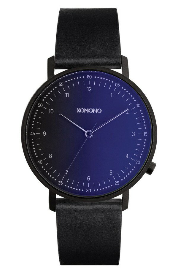 コモノ レディース 腕時計 アクセサリー Komono The Lewis Midnight Leather Strap Watch, 40mm Midnight/ Black