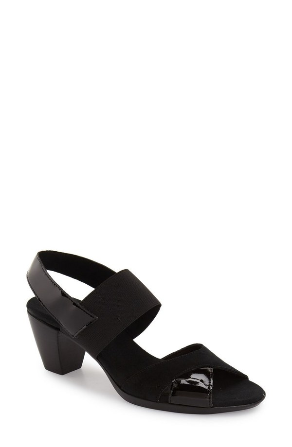 ムンロー レディース サンダル シューズ Munro Darling Mixed Finish Slingback Sandal (Women) Black Combo