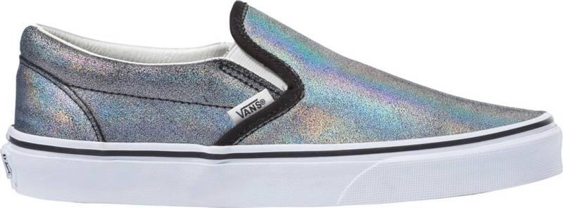 バンズ レディース スニーカー シューズ Vans Classic Slip-On Prism Suede Shoes Dark Grey Metallic画像
