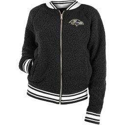 ニューエラ レディース ジャケット・ブルゾン アウター New Era Women's Baltimore Ravens Sherpa Black Full-Zip Jacket