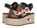 ラブ モスキーノ レディース サンダル シューズ Leather Platform Sandal w/ Flowers Black