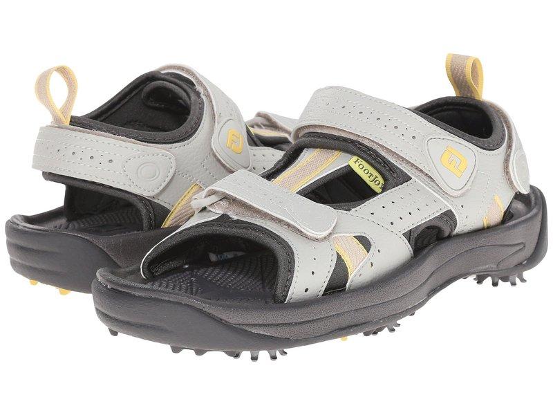 フットジョイ レディース サンダル シューズ Golf Sandal All Over Cloud/Yellow Trim (Close-out)画像