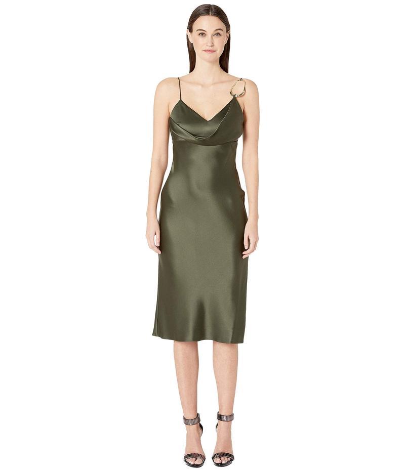 クシュニーエオクス レディース ワンピース トップス Sleeveless Pencil Dress with Front Cowl and Dripping Dark Olive