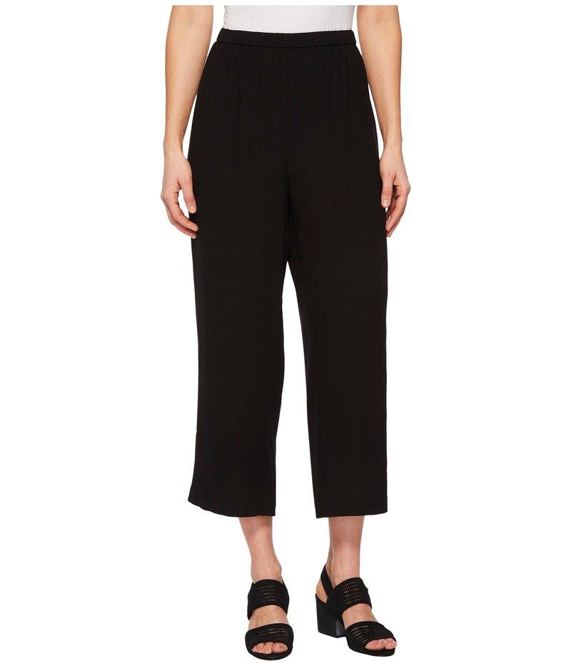 エイリーンフィッシャー レディース カジュアルパンツ ボトムス Petite Silk Georgette Crepe Straight Cropped Pants Black