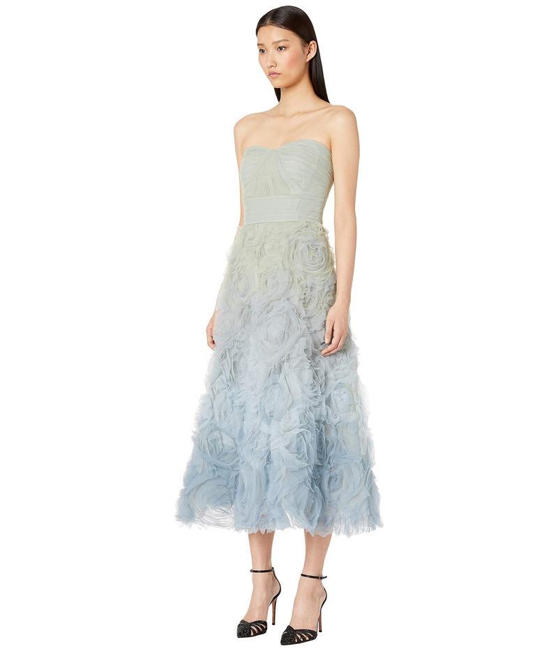 マルケサノット レディース ワンピース トップス Strapless Ombre Tulle Tea Length Gown Light Blue