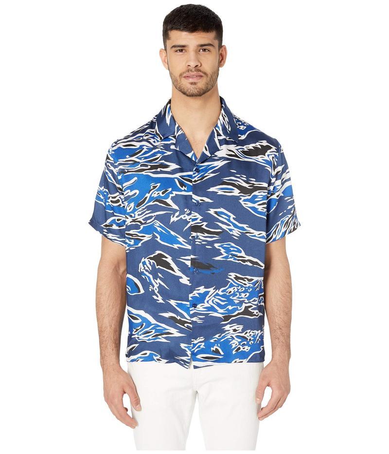 ヴェルサス ヴェルサーチ メンズ シャツ トップス Camo Short Sleeve Button Down Blue