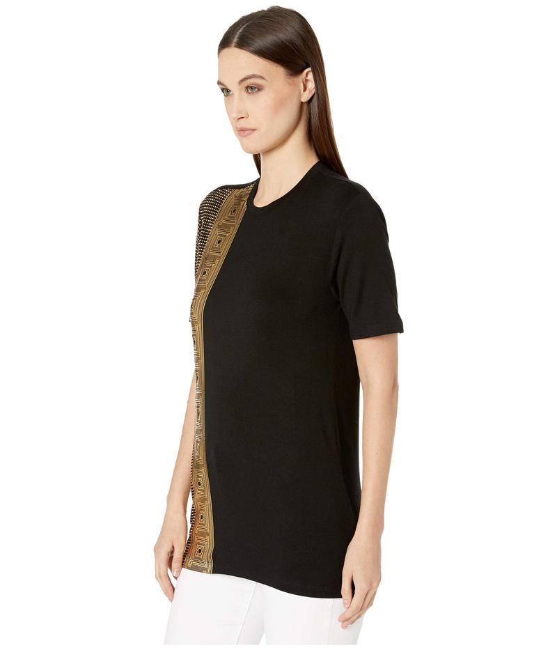 ヴェルサーチ レディース シャツ トップス Hot Fix Frame Oversized T-Shirt Black/Gold