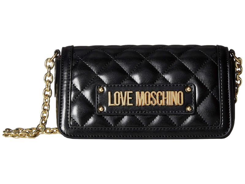ラブ モスキーノ レディース ハンドバッグ バッグ Shiny Quilted Crossbody Bag Black