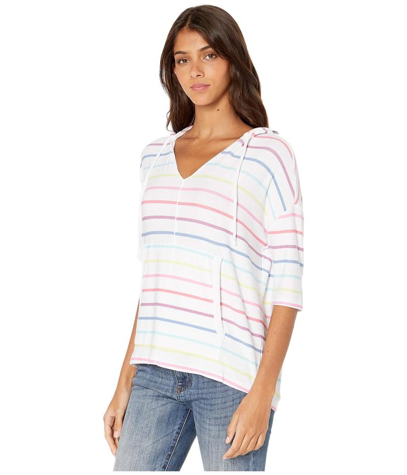 チェイサー レディース パーカー・スウェット アウター Cozy Knit 3/4 Sleeve Pullover Hoodie Rainbow Stripe