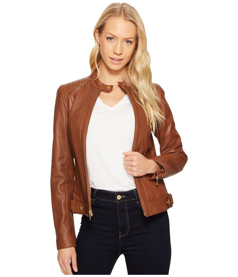 レディースファッション, コート・ジャケット  Leather Racer Jacket with Quilted Panels Chestnut