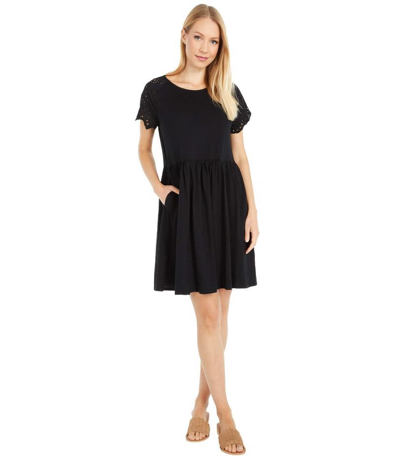 レディースファッション, ワンピース  Slub Jersey Short Dress with Eyelet Sleeves Black