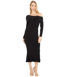 カマリカルチャー レディース ワンピース トップス Long Sleeve Drop Shoulder Fishtail Dress To Midcalf Black