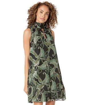 ロンドンタイムス レディース ワンピース トップス Paisley Wings Glitter Stripe V-Neck Scarf Tent Dress Black/Green