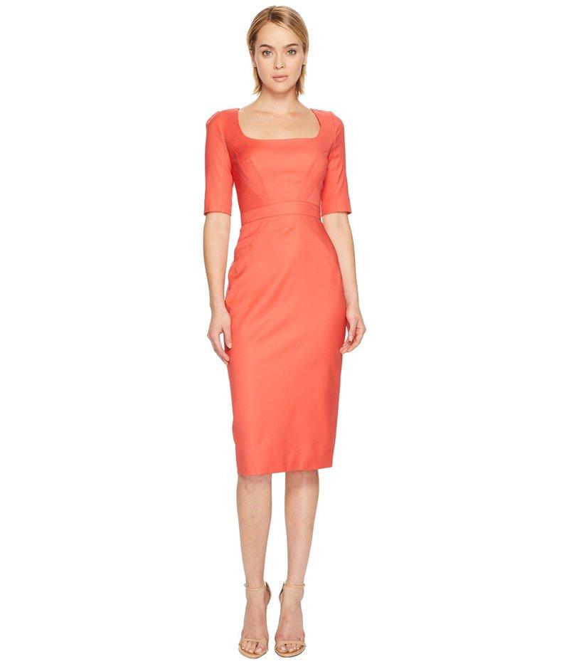 ザックポーゼン レディース ワンピース トップス Tropical Wool Short Sleeve Scoop Neck Dress Apricot