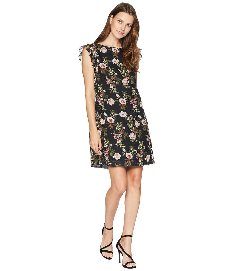レディースファッション, ワンピース  Ruffle Trim Chiffon Floral Dress BlackBlushFern