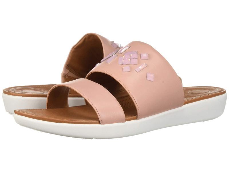 フィットフロップ レディース サンダル シューズ Delta Leather Slide Sandals - Crystal Dusky Pink