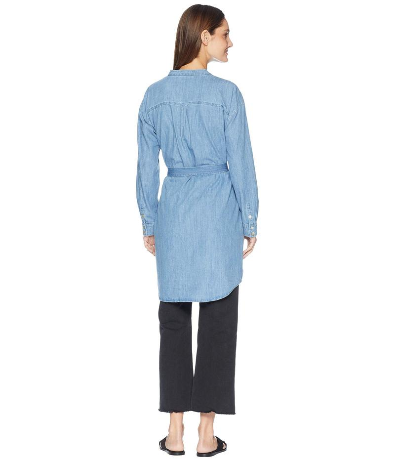 エイリーンフィッシャー レディース ワンピース トップス Organic Cotton Drapey Denim Mandarin Collar Shirtdress with Tie Blue Star