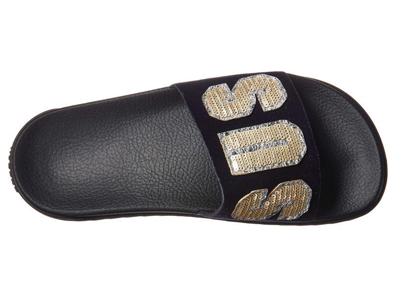 H.20+Sequins Footbed Sandal Rubber Sole Black Light Gold/ ヴェルサーチ シューズ Lettering Velluto Purple/ ヴェルサス サンダル レディース