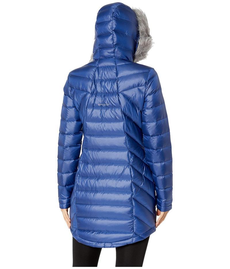 スパイダー レディース コート アウター Syrround Faux Fur Down Jacket Depth Blue/Depth Blue