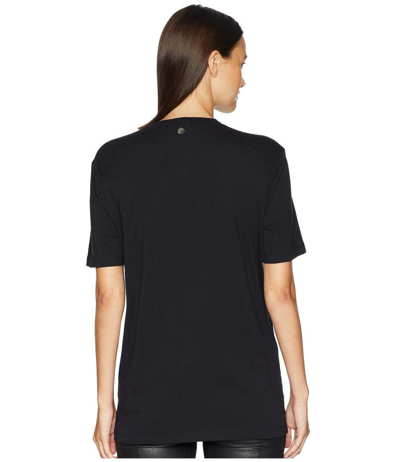 ヴェルサーチ レディース シャツ トップス T-Shirt Regular Nero/Silver