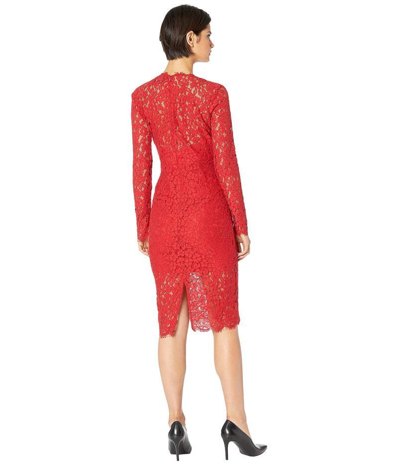バードット レディース ワンピース トップス Midnight Lace Dress Famous Red