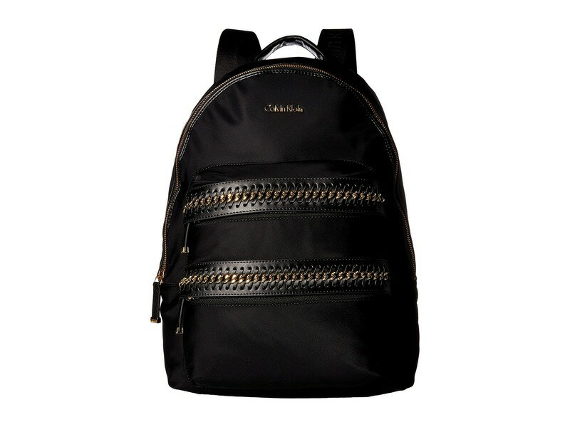 c4a157d7a962 カルバンクライン レディース バックパック・リュックサック バッグ Florence Nylon Woven Chain Pocket  Backpack Black/Gold 送料無料 サイズ交換無料 カルバン ...