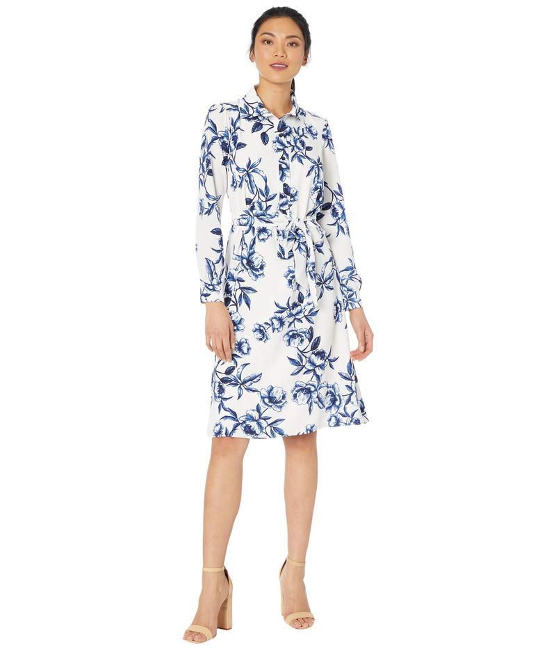 レディースファッション, ワンピース  Garden Print Midi Shirtdress Soft WhiteNavy