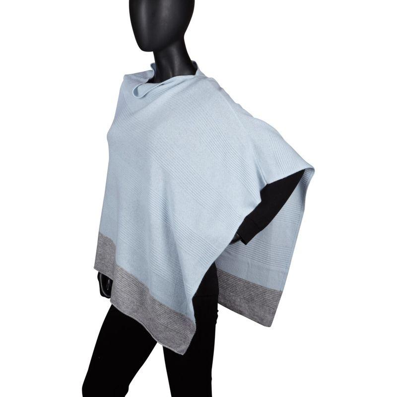 キンロスカシミア レディース ニット・セーター アウター Border Stripe Poncho One Size - Arctic/Sterling