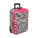 ワールドトラベラー メンズ スーツケース バッグ Zebra 20 Rolling Carry-On Pink Trim Zebra