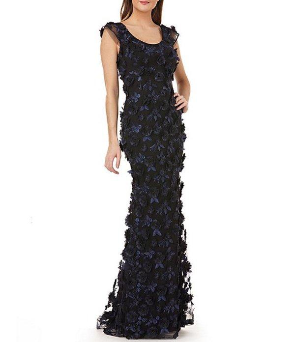 カルメンマークヴァルヴォ レディース ワンピース トップス Scoop Neck 3-D Fleurette Gown Navy/Black