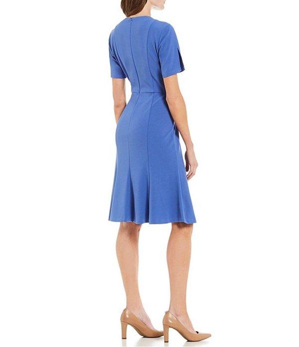 ドナモーガン レディース ワンピース トップス Stretch Crepe Slit Hem Dress Acrylic Blue